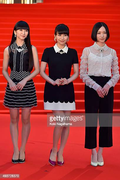 Japanese pop group Perfume attend the opening ceremony of the Tokyo International Film Festival 2015 at Roppongi Hills on October 22 2015 in Tokyo...