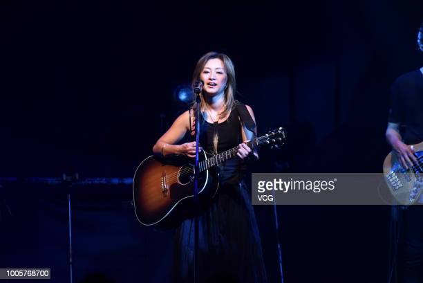 Japanese pop singer Tomiko Van and guitarist Ryo Owatari of Japanese rock band Do As Infinity perform onstage during their concert on July 22 2018 in...