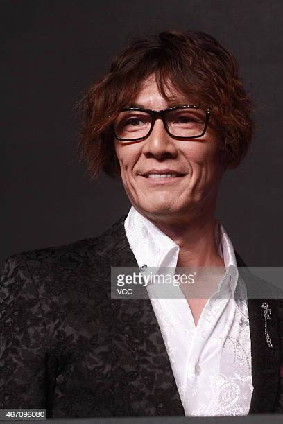 Japanese pornographic actor Kato Taka attends a new product press conference of IMTOY on March 20 2015 in Beijing China