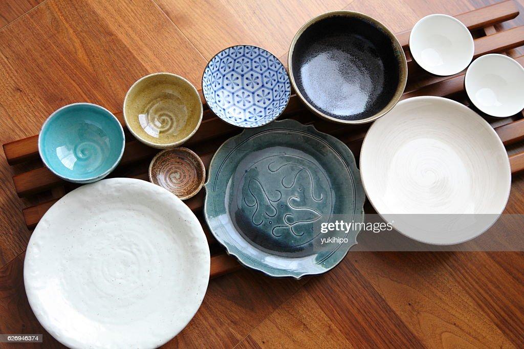 Japanese Pottery - Bowls & Plates : Stock Photo