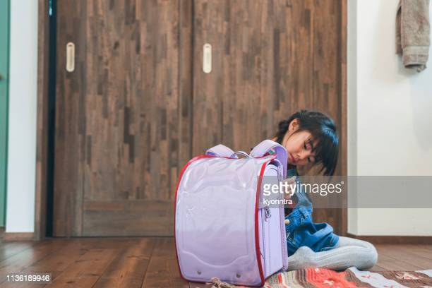 japanese preschool girl try to school bag(6years old) - pencil case stock photos and pictures