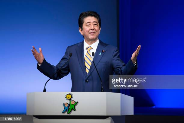 Japanese Prime Minister and Liberal Democratic Party President Shinzo Abe delivers a speech at the party's annual convention on February 10 2019 in...