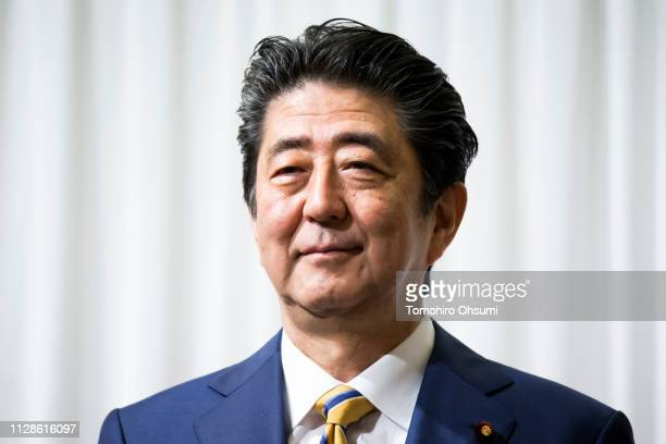 Japanese Prime Minister and Liberal Democratic Party President Shinzo Abe attends an event held before the party's annual convention on February 10,...
