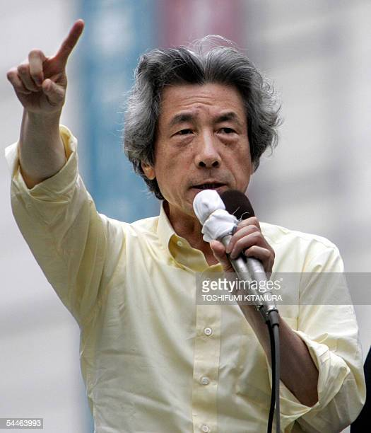 Japanese Prime Minister and ruling Liberal Democratic Party leader Junichiro Koizumi delivers a speech during his stumping tour to support...