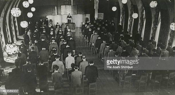 Japanese Prime Minister Fumimmaro Konoe reads the Imperial speech at the forming ceremony of the 'Taisei Yokusankai' Imperial Rule Assistance...