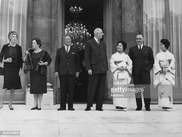 Japanese Prime Minister Hayato Ikeda after visiting French President Charles de Gaulle at the Élysée Palace in Paris France November 1962 From left...