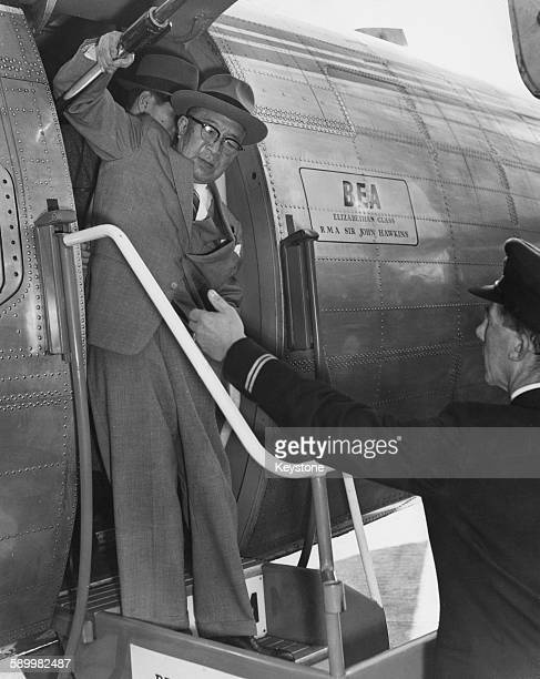 Japanese Prime Minister Ichiro Hatoyama arrives at London Airport by air from Moscow 23rd October 1956 Mr Hatoyama has just signed the Joint...