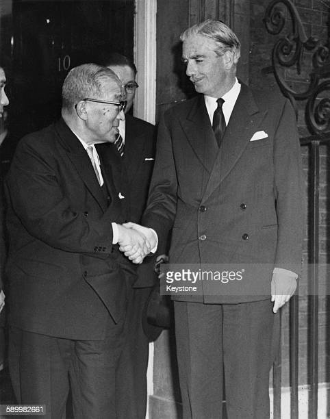 Japanese Prime Minister Ichiro Hatoyama shakes hands with British Prime Minister Sir Anthony Eden as he leaves 10 Downing Street during a visit to...