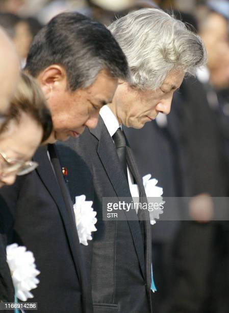 Japanese Prime Minister Junichiro Koizumi and Lower house Speaker Yohei Kono offer a silent prayer during the 60th Hiroshima Peace Memorial Ceremony...