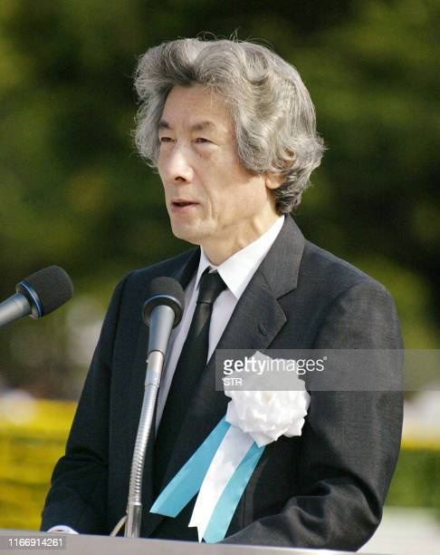 Japanese Prime Minister Junichiro Koizumi delivers a speech during the 60th Hiroshima Peace Memorial Ceremony in Hiroshima western Japan 06 August...