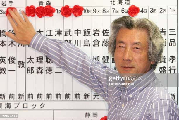 Japanese Prime Minister Junichiro Koizumi puts a paper rose on the name of a candidate reportedly elected in the lower house election at the...