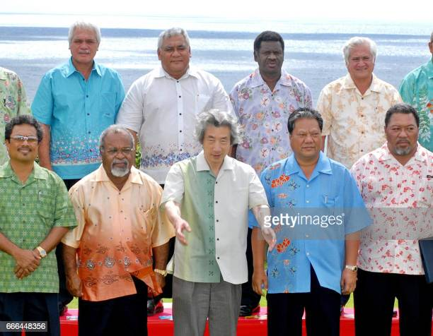 Japanese Prime Minister Junichiro Koizumi smiles with leaders from Pacific island nations Palau President Tommy Remengesau Papua New Guinea Prime...
