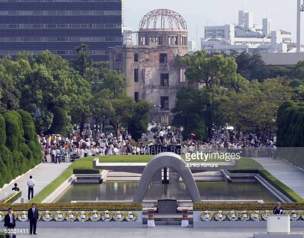 Japanese Prime Minister Junichiro Koizumi speaks at a ceremony near the Atomic Dome in the Hiroshima Peace Memorial August 6 2005 in Hiroshima Japan...