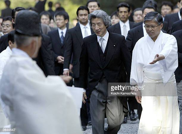 Japanese Prime Minister Junichiro Koizumi visits the Ise Jingu sanctuary to commemorate the beginning of the new year on January 5, 2004 in Ise,...
