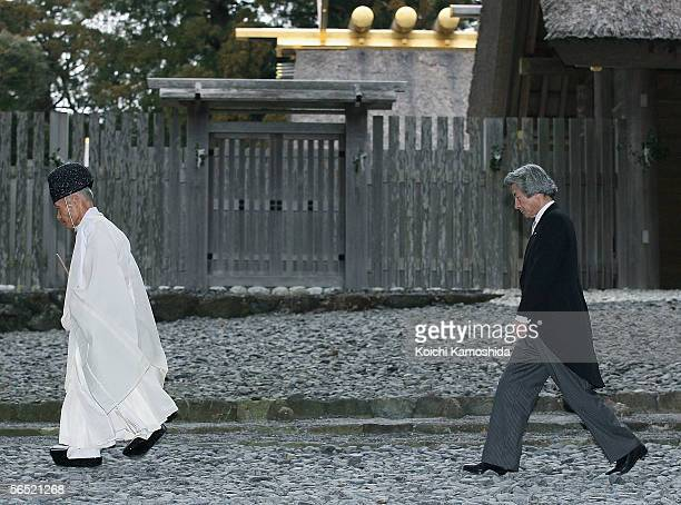 Japanese Prime Minister Junichiro Koizumi visits the Ise Shrine sanctuary to commemorate the beginning of the New Year on January 4, 2006 in Ise,...