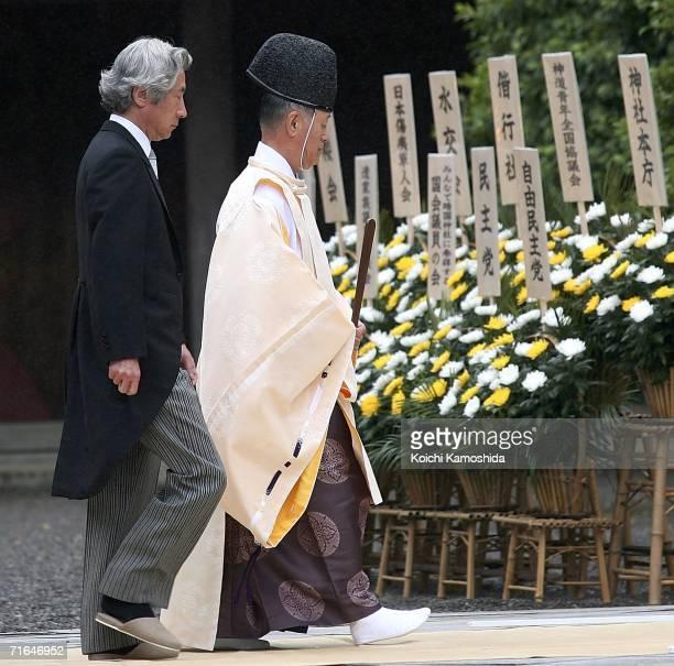 Japanese Prime Minister Junichiro Koizumi visits the Yasukuni Shrine on August 15, 2006 in Tokyo, Japan. Koizumi visited the World War Two linked...