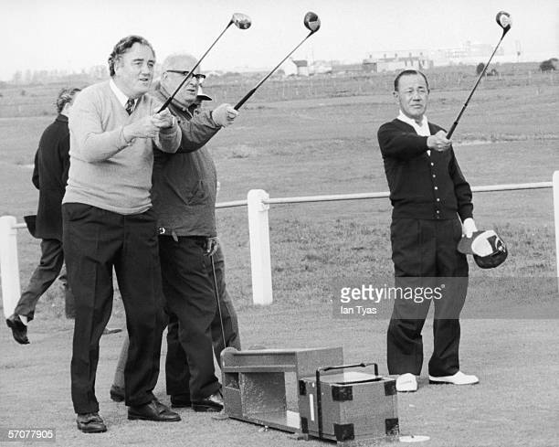 Japanese prime minister Kakuei Tanaka plays a nine hole round of golf at the Royal St George's golf club in Sandwich, during a visit to England, 30th...