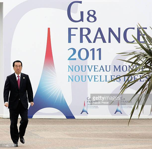 Japanese Prime Minister Naoto Kan arrives for day 2 of the G8 summit on May 27 2011 in Deauville France The Tunisian Prime Minister Beji Caid el...