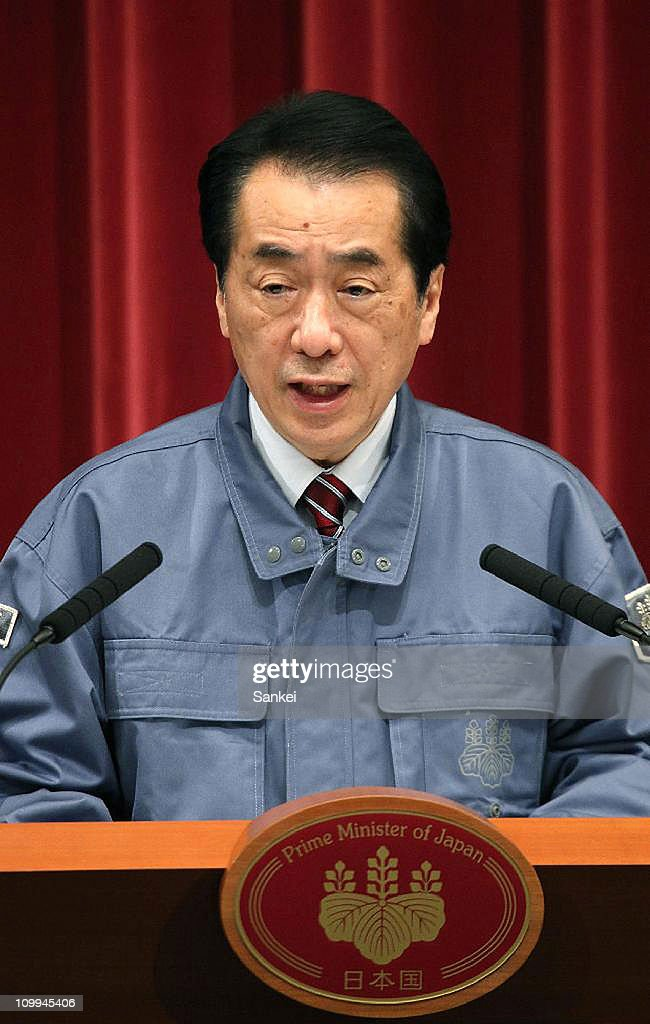 Japanese Prime Minister Naoto Kan speaks during the press conference at his official residence on March 11, 2011 in Tokyo, Japan. A magnitude 8.9 Richter scale earthquake hit the northeast coast of Japan causing tsunami alerts throughout countries bordering the Pacific Ocean.