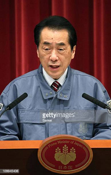 Japanese Prime Minister Naoto Kan speaks during the press conference at his official residence on March 11 2011 in Tokyo Japan A magnitude 89 Richter...