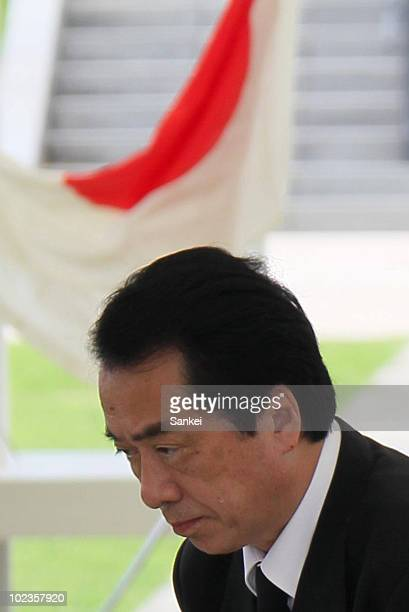 Japanese Prime Minister Naoto Kan visits the Peace Memorial Park on June 23 2010 in Itoman Japan Naoto Kan was lately elected Japanese Prime Minister