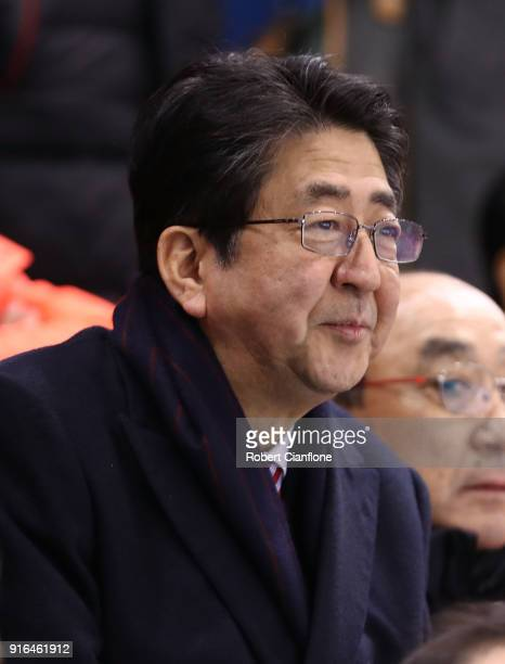 Japanese Prime minister ShinzØ Abe is seen during the Women's Ice Hockey Preliminary Round, Group B match between Japan and Sweden on day one of the...