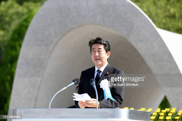Japanese Prime Minister Shinzo Abe addresses during the Peace Memorial Ceremony at Hiroshima Peace Memorial Park on August 6 2018 in Hiroshima Japan...