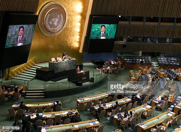 Japanese Prime Minister Shinzo Abe addresses during the United Nations General Assembly at the UN headquarters on September 21 2016 in New York City...
