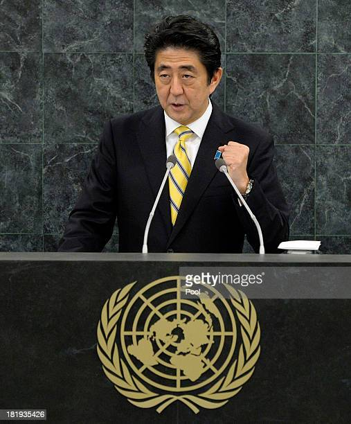 Japanese Prime Minister Shinzo Abe addresses the 68th United Nations General Assembly at UN headquarters on September 26 2013 in New York City Over...