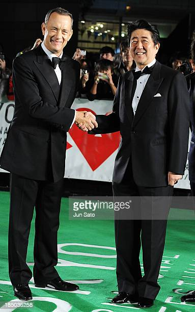 Japanese prime minister Shinzo Abe and actor Tom Hanks attend the 26th Tokyo International Film Festival Opening Ceremony at Roppongi Hills on...