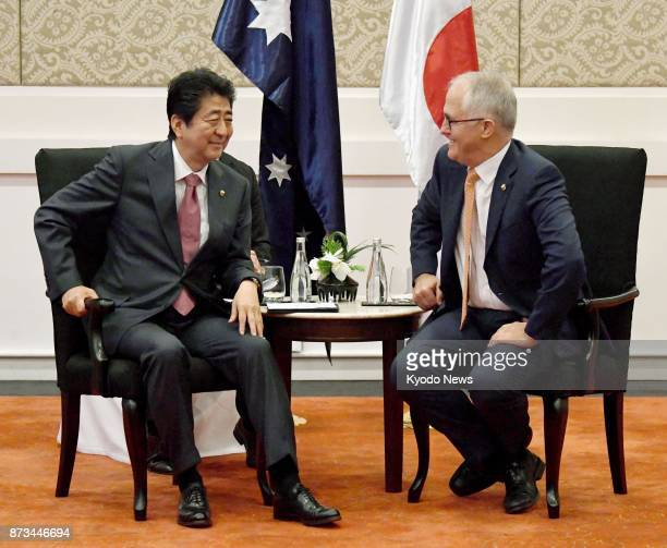 Japanese Prime Minister Shinzo Abe and Australian counterpart Malcolm Turnbull hold bilateral talks in Manila on Nov 13 following their threeway...