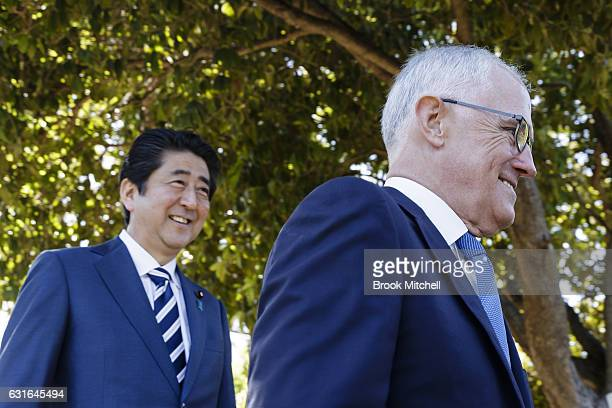 Japanese Prime Minister Shinzo Abe and Australian Prime Minister Malcom Turnbull deliver joint media statements at Kirribilli House on January 14...