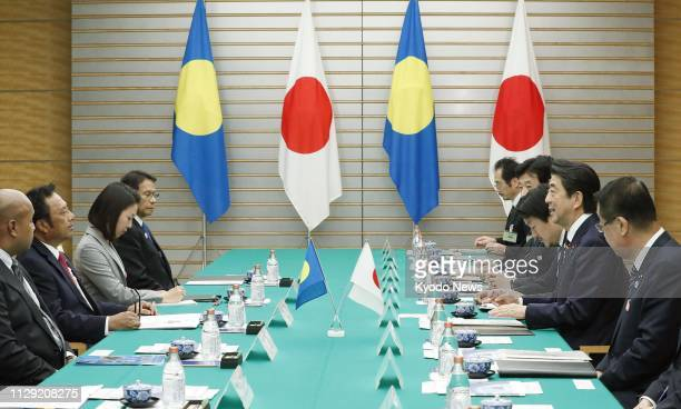 Japanese Prime Minister Shinzo Abe and Palauan President Tommy Remengesau hold talks at the prime minister's office in Tokyo on March 8 2019 ==Kyodo