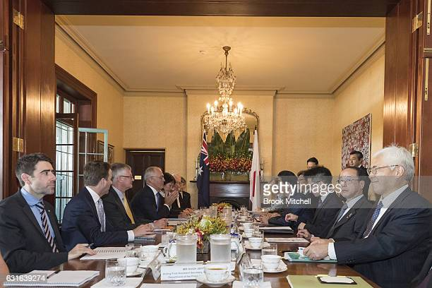 Japanese Prime Minister Shinzo Abe and the Australian Prime Minister Malcom Turnbull at a bilateral meeting at Kirribilli House on January 14 2017 in...