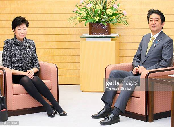 Japanese Prime Minister Shinzo Abe and Tokyo Metropolitan Governor Yuriko Koike hold a meeting at Abe's official residence on January 10 2017 in...
