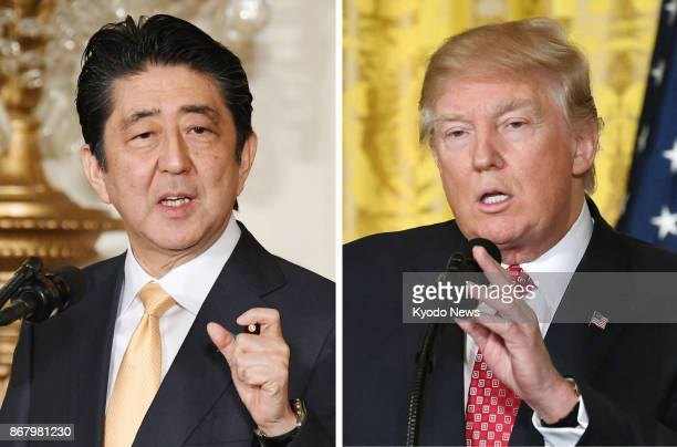 Japanese Prime Minister Shinzo Abe and US President Donald Trump seen in this combined file photo will hold talks in Tokyo on Nov 6 during which Abe...