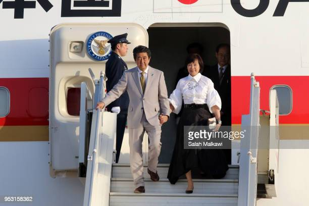 Japanese Prime Minister Shinzo Abe and wife Akie Abe arrive at Marka international airport on April 30 2018 in Amman Jordan Abe is on a Middle East...
