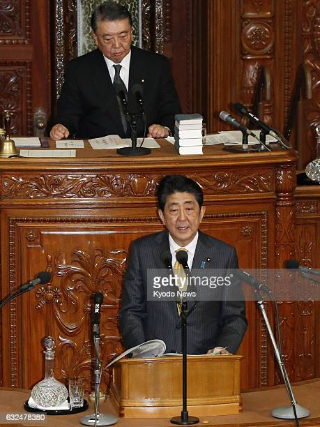Japanese Prime Minister Shinzo Abe answers questions during a plenary session of the House of Representatives in Tokyo on Jan 23 2017