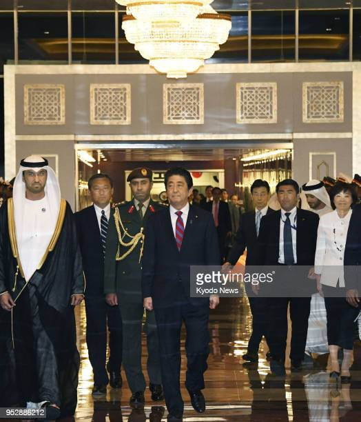 Japanese Prime Minister Shinzo Abe arrives at Abu Dhabi international airport in the United Arab Emirates on April 29 kicking off a fiveday Middle...