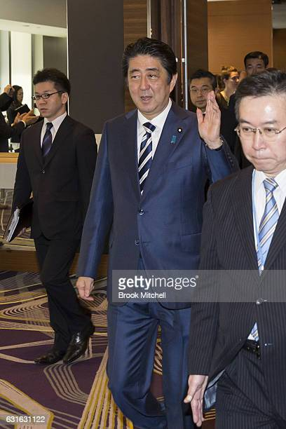 Japanese Prime Minister Shinzo Abe arrives to deliver the keynote speech at the Japan National Tourism Organisation Seminar at the Hilton Hotel...
