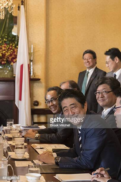 Japanese Prime Minister Shinzo Abe at a bilateral meeting at Kirribilli House on on January 14 2017 in Sydney Australia The Japanese Prime Minister...