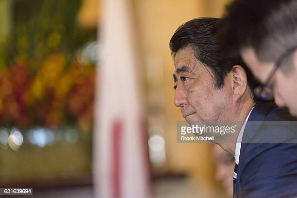 Japanese Prime Minister Shinzo Abe at bilateral talks at Kirribilli house on January 14 2017 in Sydney Australia The Japanese Prime Minister is on a...