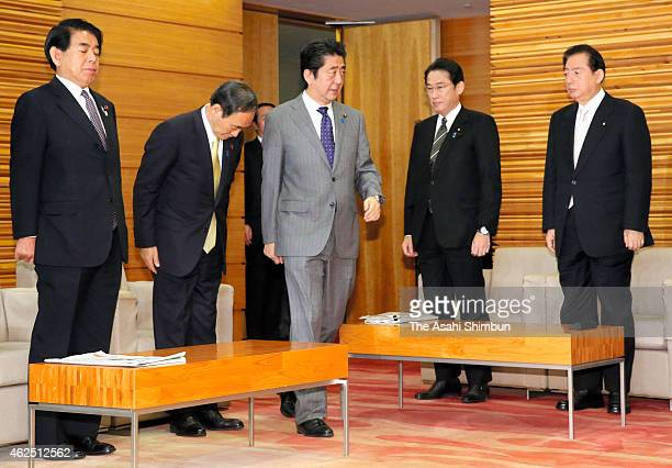 Japanese Prime Minister Shinzo Abe attend a cabinet meeting at his official residence on January 30 2015 in Tokyo Japan Death row inmate Sajida...