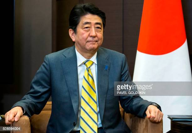 Japanese Prime Minister Shinzo Abe attends a meeting with Russian President at the Bocharov Ruchei state residence in Sochi on May 6, 2016.