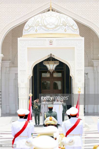 Japanese Prime Minister Shinzo Abe attends the welcome ceremony with Crown Prince of Abu Dhabi Sheikh Mohamed bin Zayed Al Nahyan on April 30 2018 in...