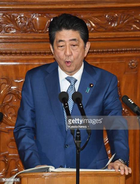 Japanese Prime Minister Shinzo Abe delivers a policy speech during a plenary session of the House of Representatives in Tokyo on Jan 22 the first day...