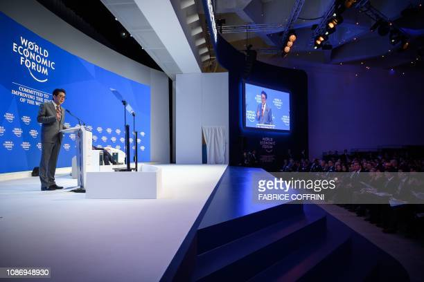Japanese Prime Minister Shinzo Abe delivers a speech during the World Economic Forum annual meeting on January 23 2019 in Davos eastern Switzerland