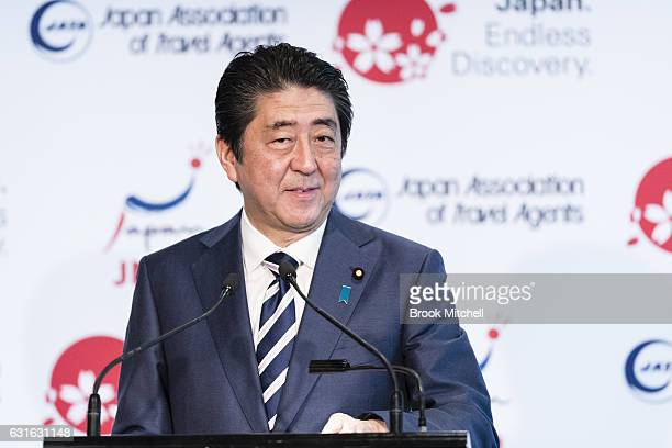 Japanese Prime Minister Shinzo Abe delivers the keynote speech at the Japan National Tourism Organisation Seminar at the Hilton Hotel Sydney on...
