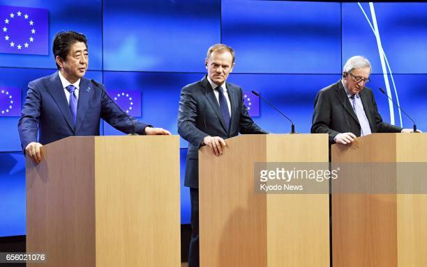 Japanese Prime Minister Shinzo Abe European Council President Donald Tusk and European Commission President JeanClaude Juncker hold a joint press...