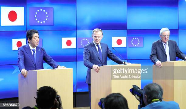 Japanese Prime Minister Shinzo Abe European Council President Donald Tusk and European Commission President JeanClaude Juncker attend a press...